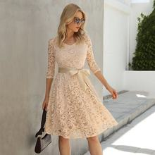 TMWEVN Floral Lace Vintage A Line Formal Dress Women Elegant 2/3 Sleeve V Neck Autumn Dress Party He