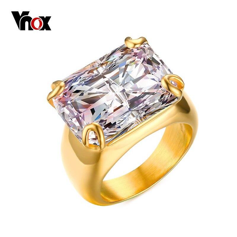 Vnox Lujo CZ Anillo de Piedra para Las Mujeres Square Circón Anillos de Acero Inoxidable de color Oro