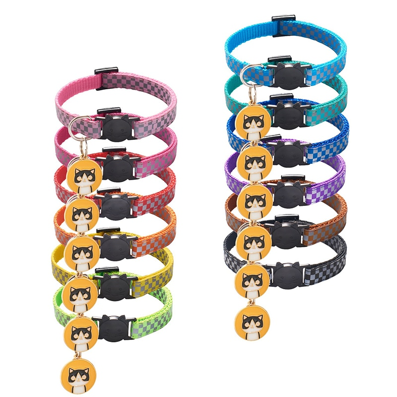 Colorul Pet Supplies Cat Collar With Bell Adjustable Buckle Collar Cat Accessories Small Dog Checker Reflective Breakaway Safety colorful cute dog pet glossy reflective collar safety buckle bell strap 6 colors adjustable strap