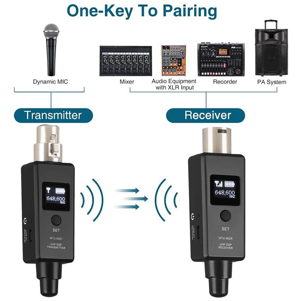 UHF ميكروفون لاسلكي جهاز ريسيفر استقبال وإرسال نظام XLR اتصال المدمج في بطارية قابلة للشحن للميكروفون الديناميكي