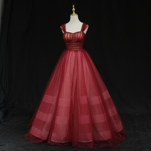Dark Red Ball Gown Prom Dress Layers Pleats Tulle Evening Dresses Lace-Up Back Floor Length Runway Gowns