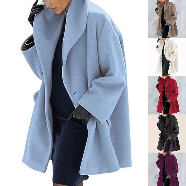 Winter Wool Blend Coat Women 2020 Fashion Shawl Collar Open Stitch Loose Coat Female Casual Solid Po
