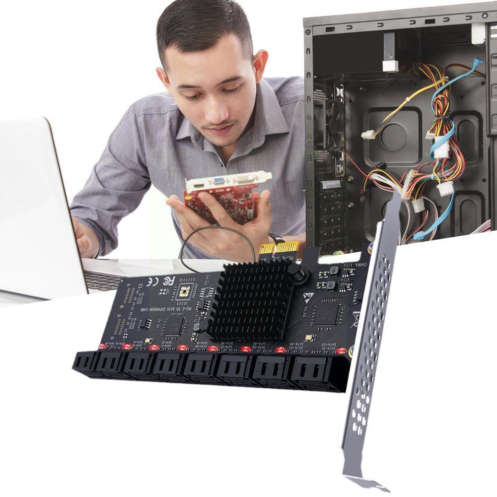 Pcie بطاقة Sata 16 منفذ 6gb Sata 3.0 بطاقة Pcie للتعدين شيا X4 فتحات Pci دعم 16 Sata 3.0 أجهزة L8s2