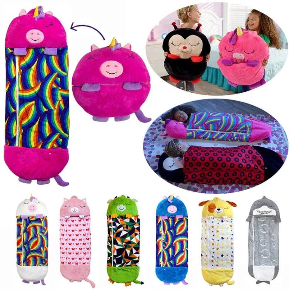 الأطفال الكرتون بطانية هدايا عيد سميكة 1 قطعة المفرش على السرير الطفل كيس النوم الدافئة لينة كسول اللعب وسادة قطعة واحدة