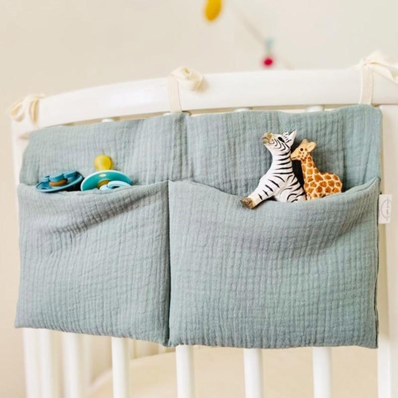 Baby Bedside Storage Bag Baby Crib Organizer Hanging Bag for Baby Essentials Multi-Purpose Newborn Bed Hanging Diaper Toy Tissue