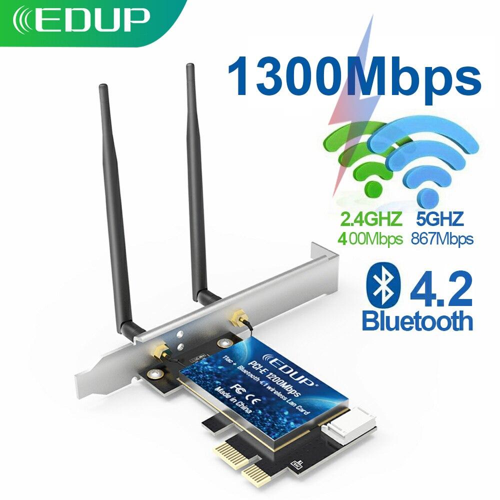 EDUP-tarjeta de red PCI Express de 1300Mbps, Adaptador de WiFi de doble...