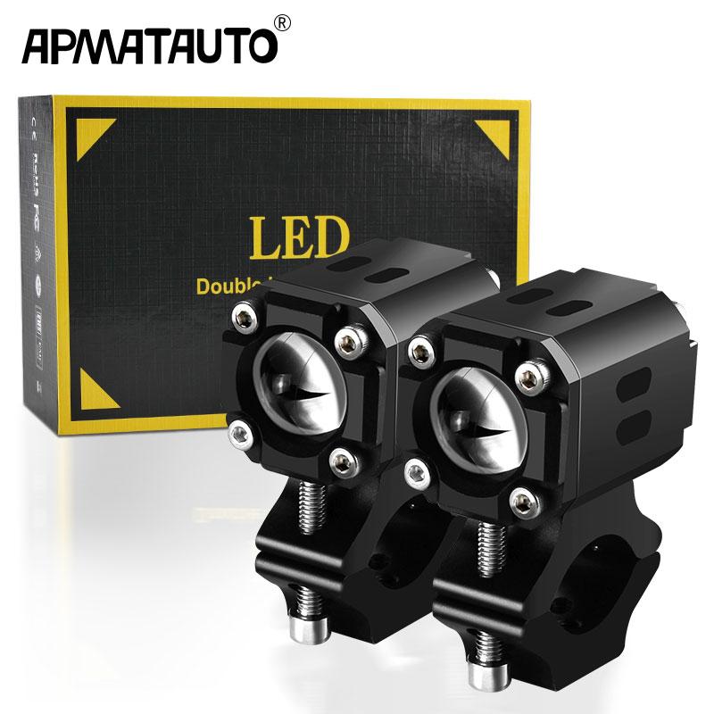 X6A 1 مجموعة عدسة مرحبا/منخفضة أضواء مساعدة دراجة نارية 70 واط بقعة القيادة فلاش مصابيح ضباب لسيارات BMW R1200GS F800GS F700GS F650 12 فولت 6000K