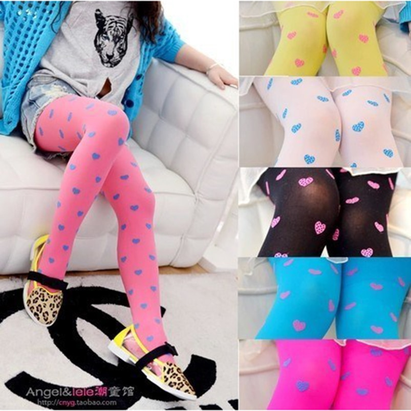Sweet Heart Printed Baby Legging Children Girls Candy Color Pantyhose Velvet Stockings for girls clothing Spring kids tights