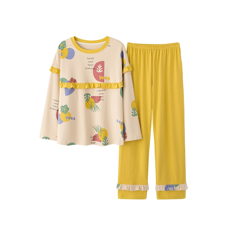 Autumn winter women's cotton loose and comfortable pajamas long sleeve lovely printed home clothes two-piece Pajamas SetJJF0090