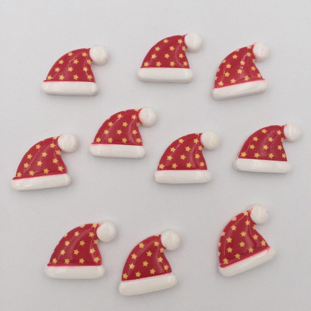 Resin Colorful Mini Kawaii Christmas Star Hat Flatback Cabochon Stone 20PCS Scrapbook DIY Decor Home Figurine Crafts OK064*2