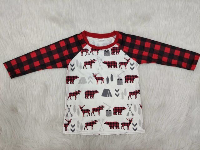 Plaid long sleeve bear print shirt kids clothes children
