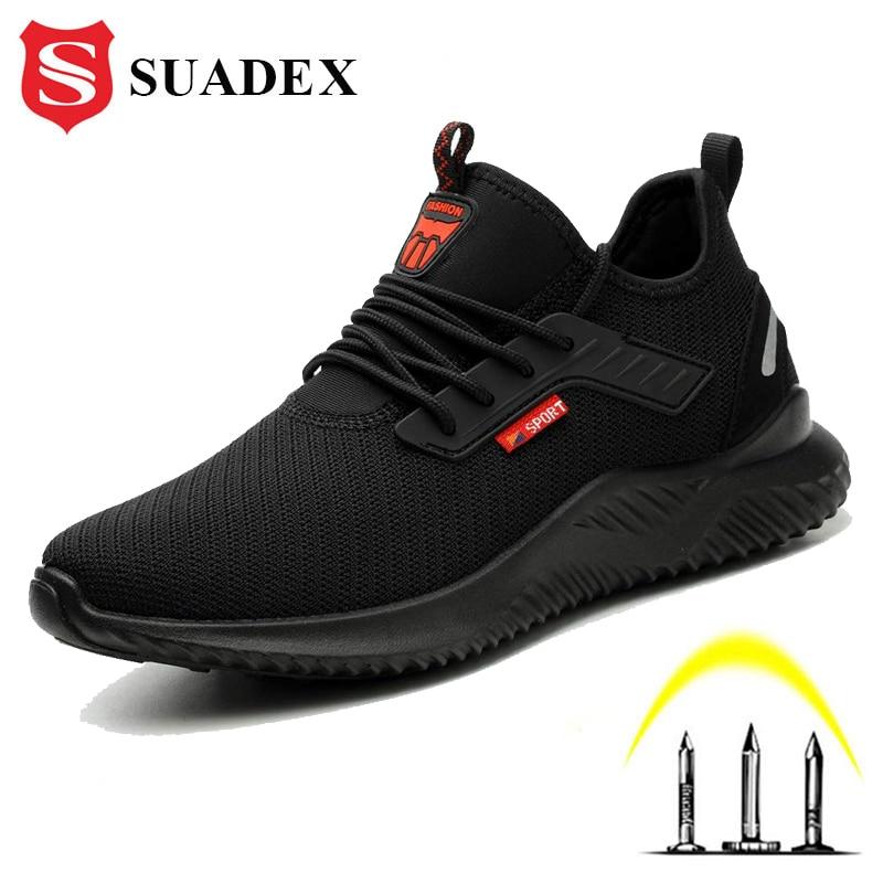 Tampão de Aço Sapatos de Segurança Sapatos de Trabalho para o Homem Tênis de Segurança Suadex Homem Anti-punctura Ferir Proteção Pés Respirável Sapatilha