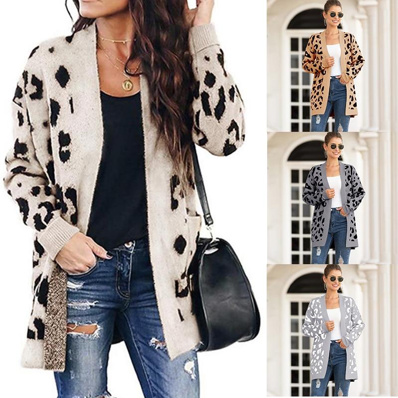 2020 otoño e invierno nuevo estilo Europa y América Amazon AliExpress Venta caliente suéter femenino de longitud media Leopard patrón tarjeta