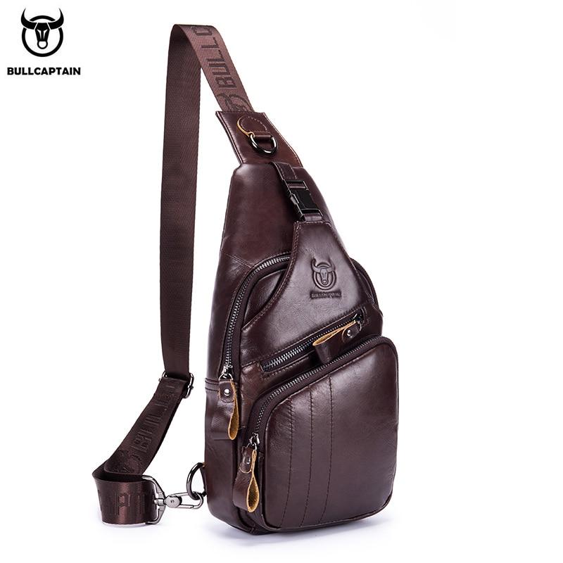 BULLCAPTAIN 2020 Genuine Leather chest bag for men casual messenger bags fashion men's chest pack la