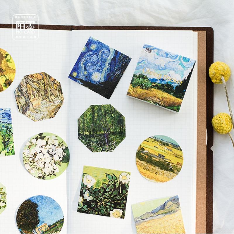 6 pcs lot vintage stick 45 pcs/lot Famous Van Gogh Painting DIY Decorative Stickers Decoration Stick Label
