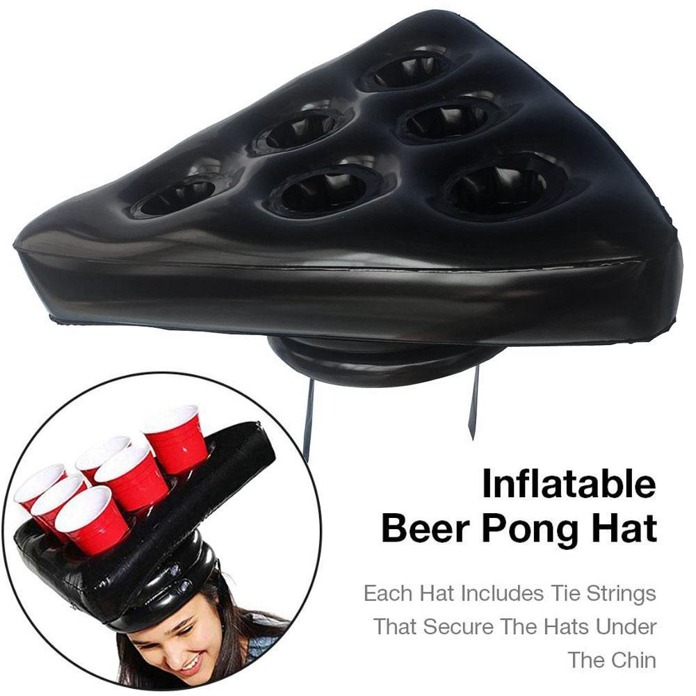 6-Hole Inflatable Hat Floating Cup Holder Swim Pool Party Game Hat Supplies Beer Pong Bar Balloon