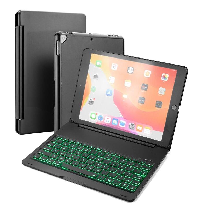 لوحة مفاتيح ألومنيوم بلوتوث لأجهزة iPad Air 2 9.7 بوصة ، حافظة صلبة ممتازة مع 7 ألوان بإضاءة خلفية ناعمة تصميم الكل في واحد