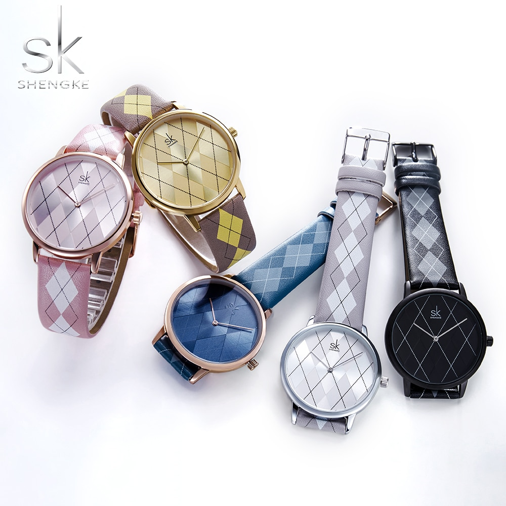 Shengke Fashion Women Watch Leather RelogioFeminino Vintage Plaid Wristwatch Lady leather Clock Girls Watches Womans Reloj Mujer enlarge