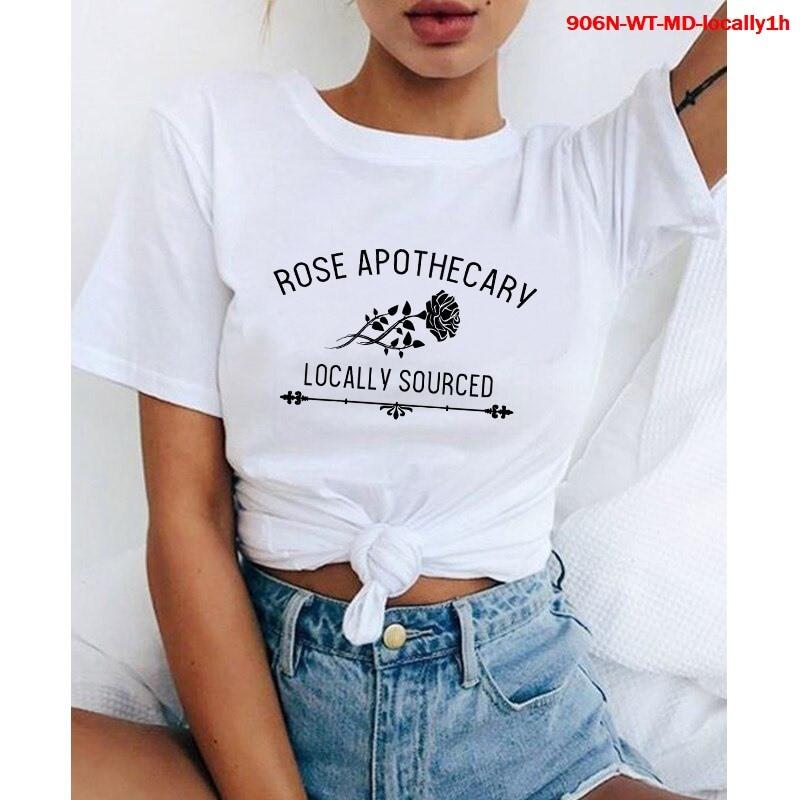 Camisetas estampadas para mujer, Camiseta con estampado de Apothecary de rosa, ropa...