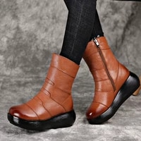 platform genuine leather half boots women shoes 2020 winter round toe vintage platform mid calf boots women zipper