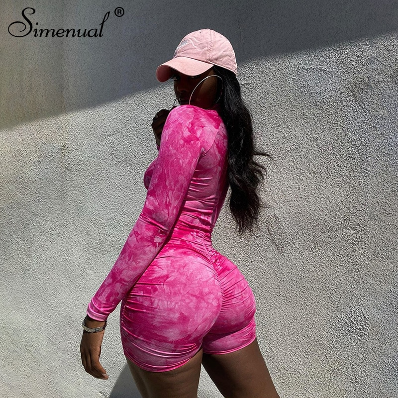 Simenual Tie Dye Ruched Casual Biker Shorts Rompers Women Long Sleeve Workout Active Wear Skinny Playsuit Fashion Bodycon 2021