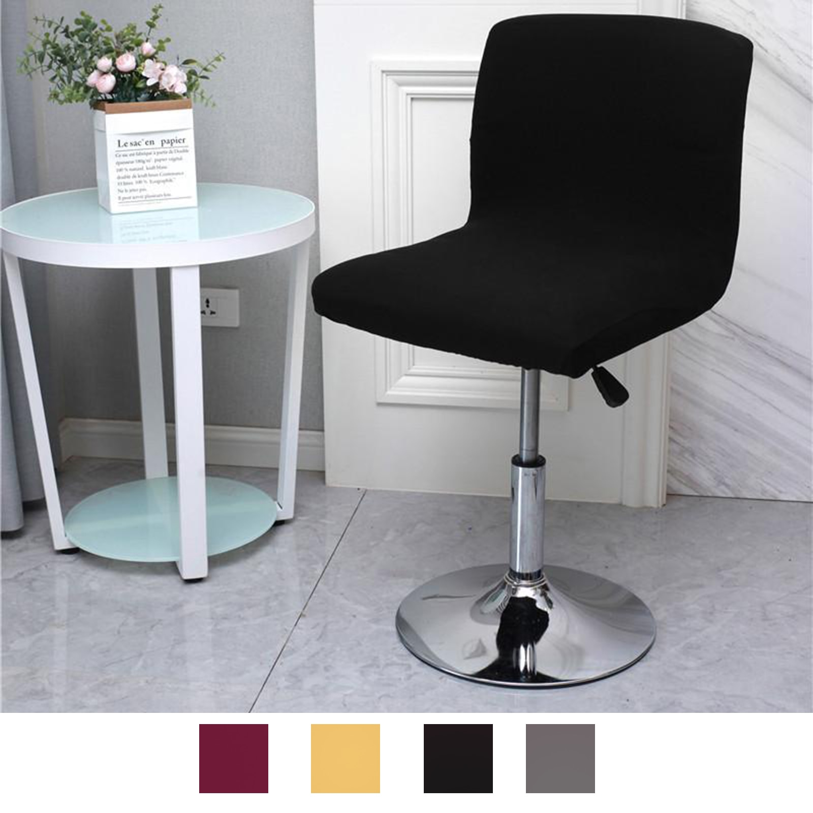 AliExpress - 1x Counter Pub Stool Chair Cover Polyester Counter Side Short Back Kitchen Seat Slipcovers Bar Stool Chair Furniture Protector