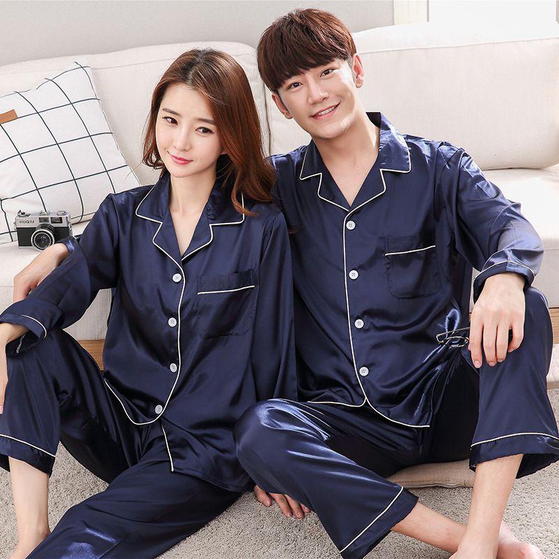 Novo casal pijamas conjunto de manga longa outono seda casa terno turn-down neck plus size 3xl casal camisola sleepwear w1