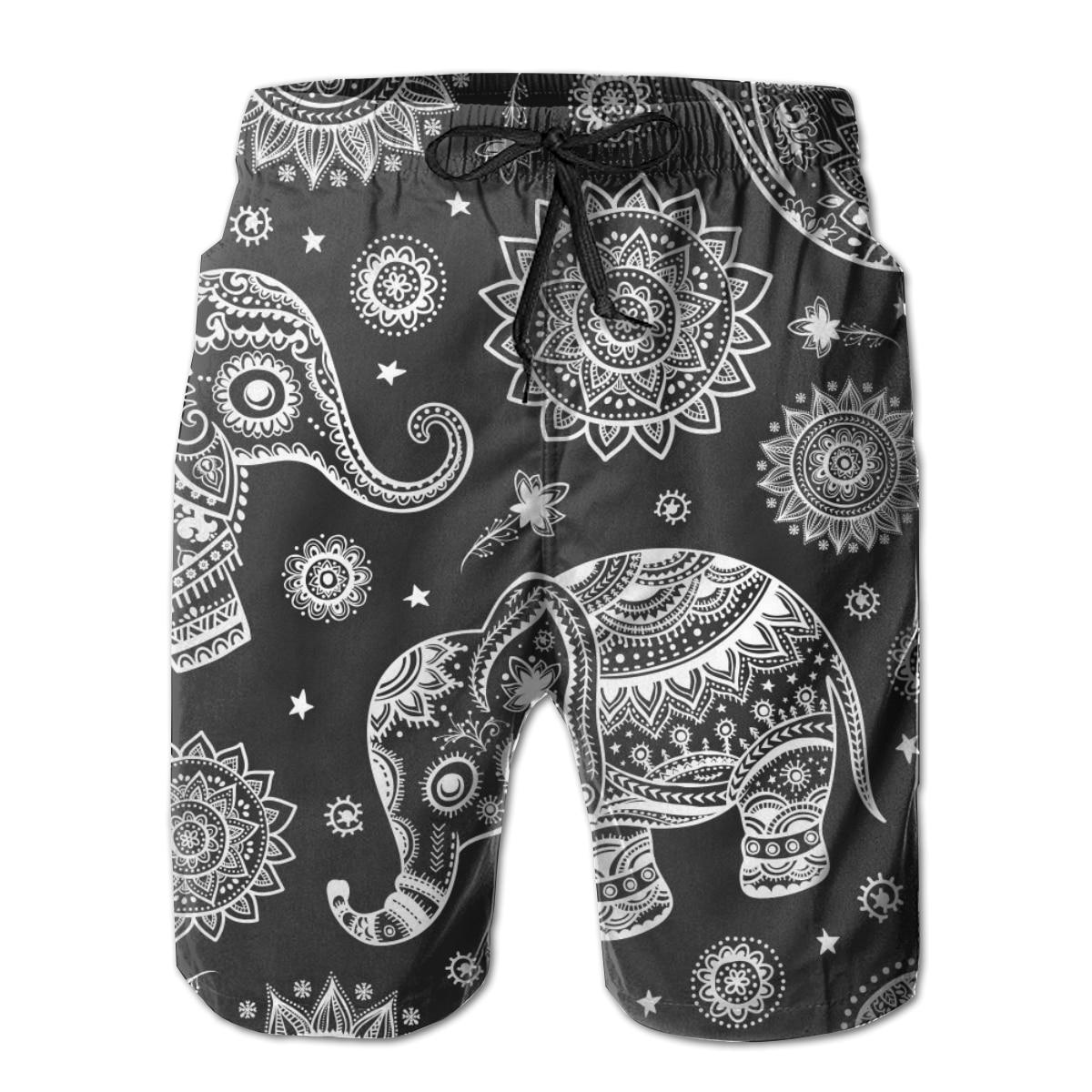 Bañadores cortos, bañador indio con elefante étnico de loto, bañador Tribal africano para hombre, ropa de playa, pantalones cortos, bermudas