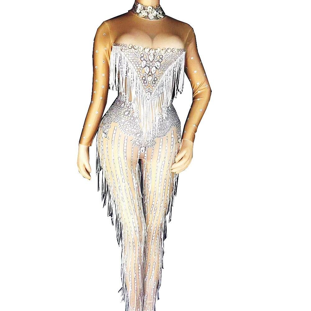 الفضة الراين نمط الطباعة شرابة بذلة عارية الذراعين يوتار السيدات ملهى ليلي أداء الحفلات زي ملابس الرقص