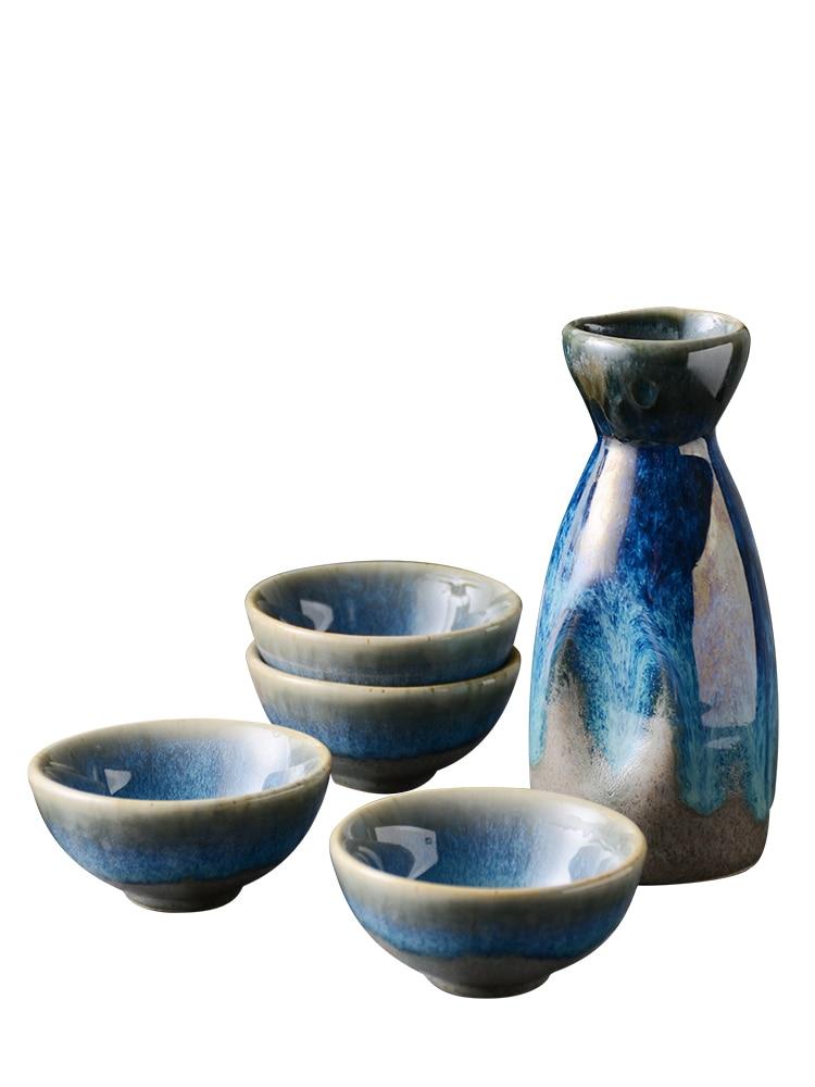 5Pcs Retro Japanese Sake Set Ceramic Flagon Liquor Cup 1 Pot 4 Cups Home Bar Sake White Wine Pot Creative Drinkware Gifts ZM1027