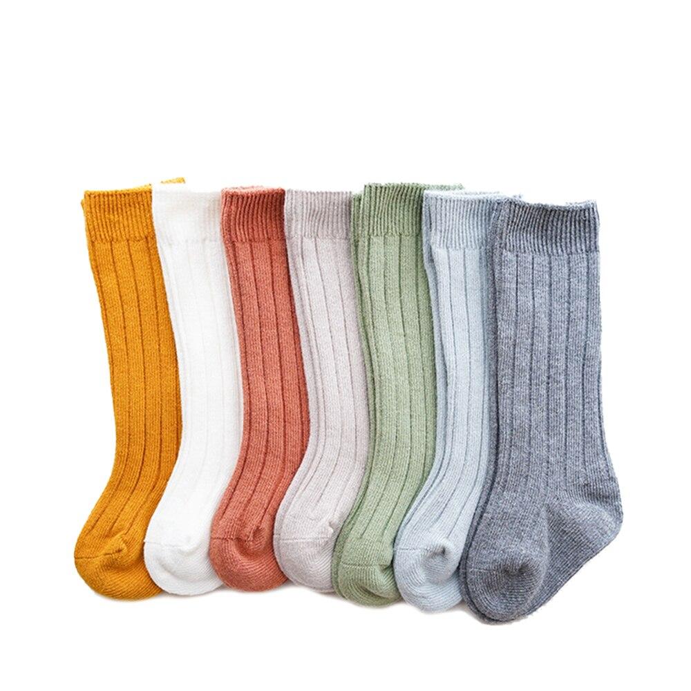جوارب طويلة للركبة للأطفال من سن 0 إلى 5 سنوات ، جوارب قطنية غير رسمية مع فيونكة