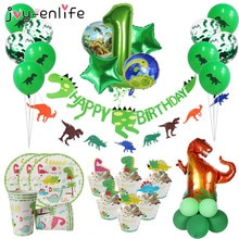 Dinosaur Themed Party Supplies for Kids Boys Birthdays Decoration Plates Cups Roaring Dino Party Bal
