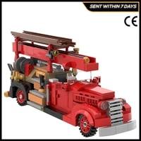 vintage car fire truck v8 85 high tech city series moc building brick blocks vihicle modeldiy for childrens toyskids gifts