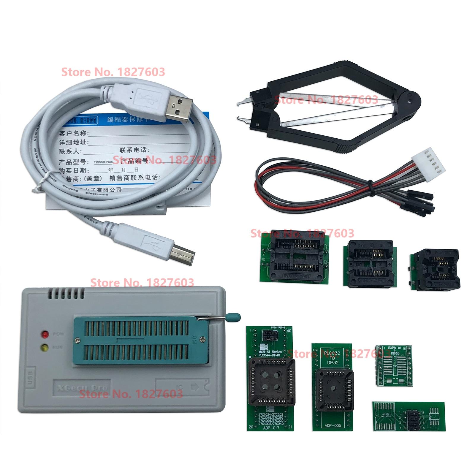 V11.50 XGecu TL866II زائد USB مبرمج دعم 17154 + IC + 7 قطعة محول SPI فلاش NAND EEPROM MCU PIC AVR استبدال TL866A