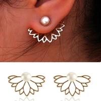 pearl lotus front and rear stud earrings european and american ladies exquisite earrings earrings
