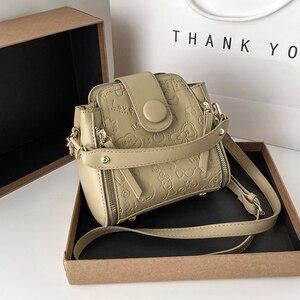 2021 New Fashion Handbag Women Bucket Bag Vintage Print Messenger Bag High Quality Retro Shoulder Bag Simple Crossbody Bag Tote
