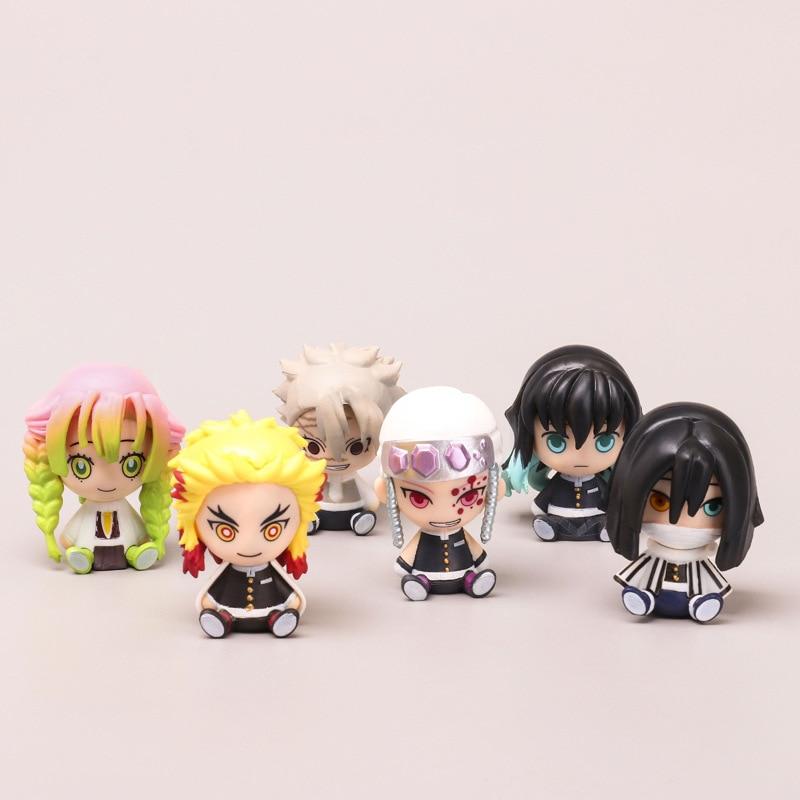 AliExpress - 6 Style Random Kawaii Sitting Version of Demon Slayer Figure Anime Peripheral Apricot Shou Lang Inosuke PVC Doll Kids Toys Gift