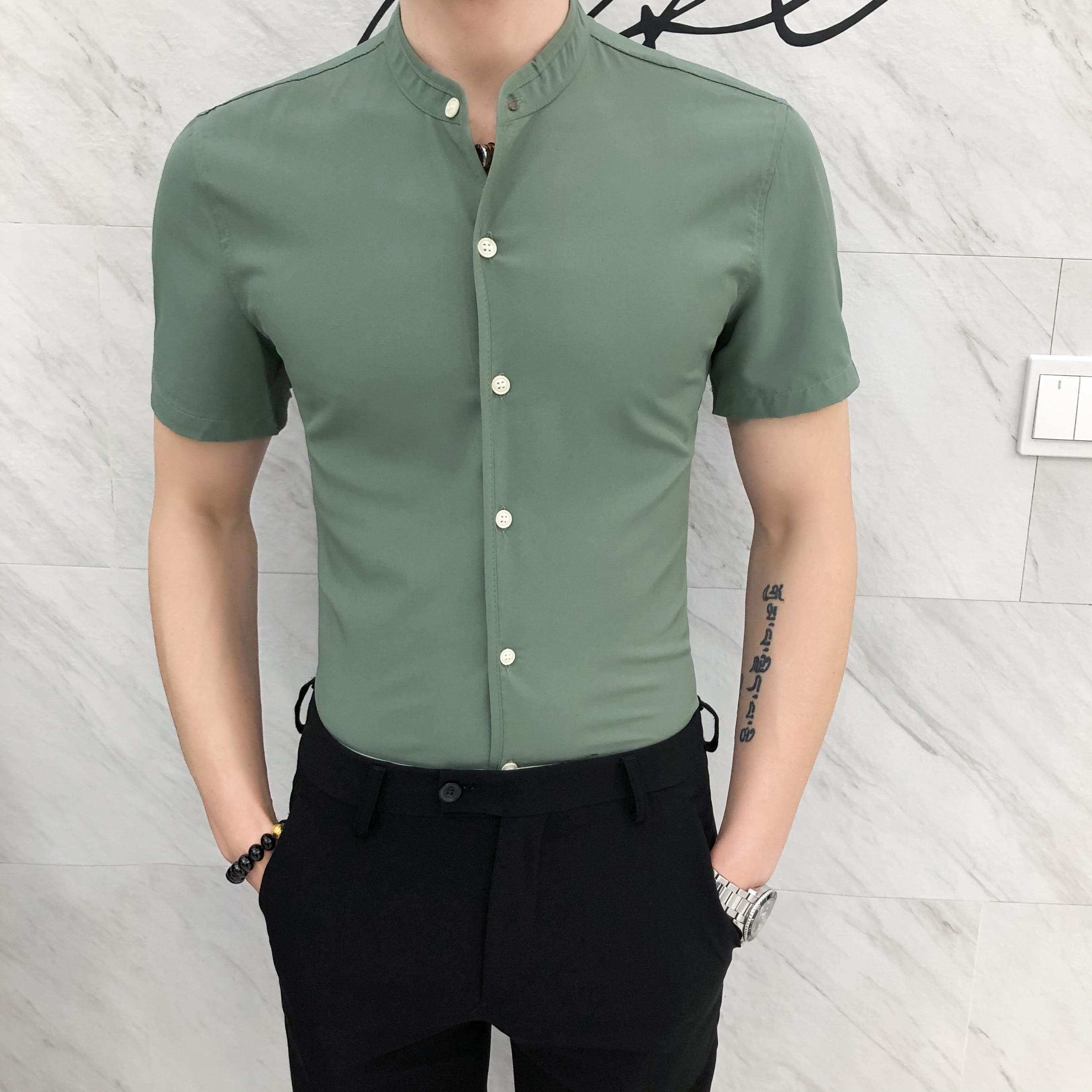 قميص رجالي بأكمام قصيرة ، كاجوال ، أسود ، صيفي ، أبيض ، هاواي ، نحيف ، زر ، ياقة واقفة ، أخضر ، 2020
