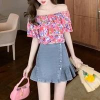 summer womens shirt chiffon short blouses for women slash neck womens clothing 2021 floral printing blouse female basic shirts