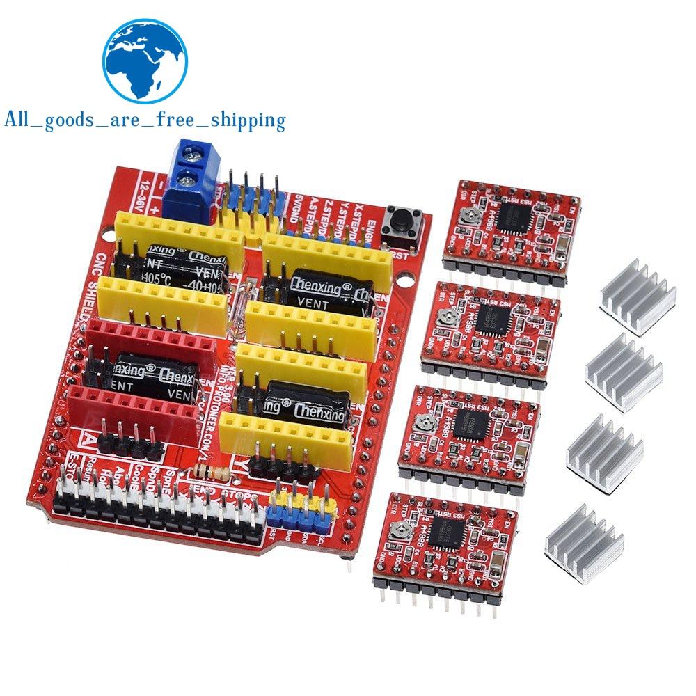 Nueva máquina de grabado cnc shield v3 TZT, impresora 3D, + 4 uds, placa de expansión del controlador A4988