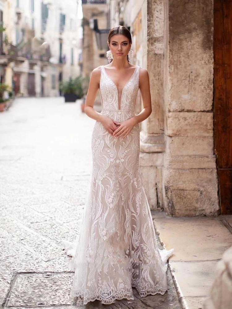 Promo Wedding dress Mermaid wedding dress v-neck belt sleeveless white retro backless wedding gown lace tailing embroidery applique