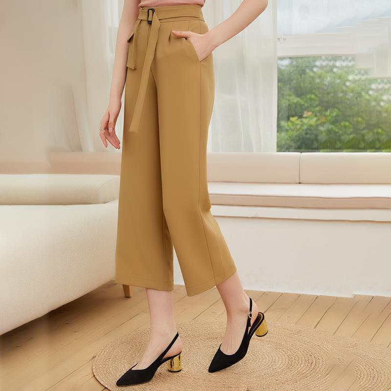 Quality 2021 spring and Autumn New Women's trousers straight bobbin pants middle waist casual pants