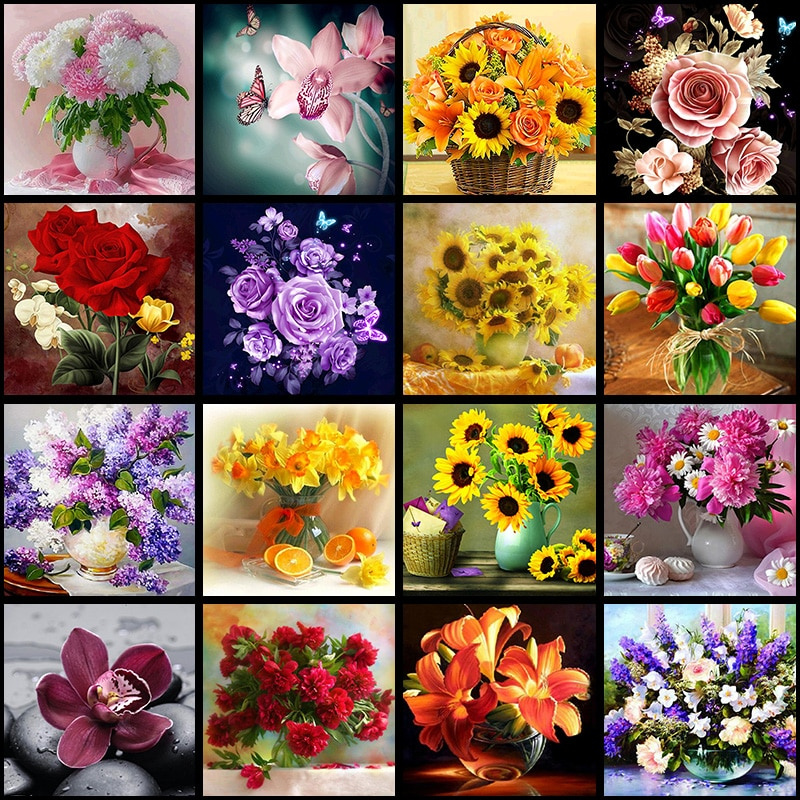 5D DIY Diamond Flower Arrangement Flower Vase Cross Stitch Diamond Embroidery Mosaic Diamond Home Decor