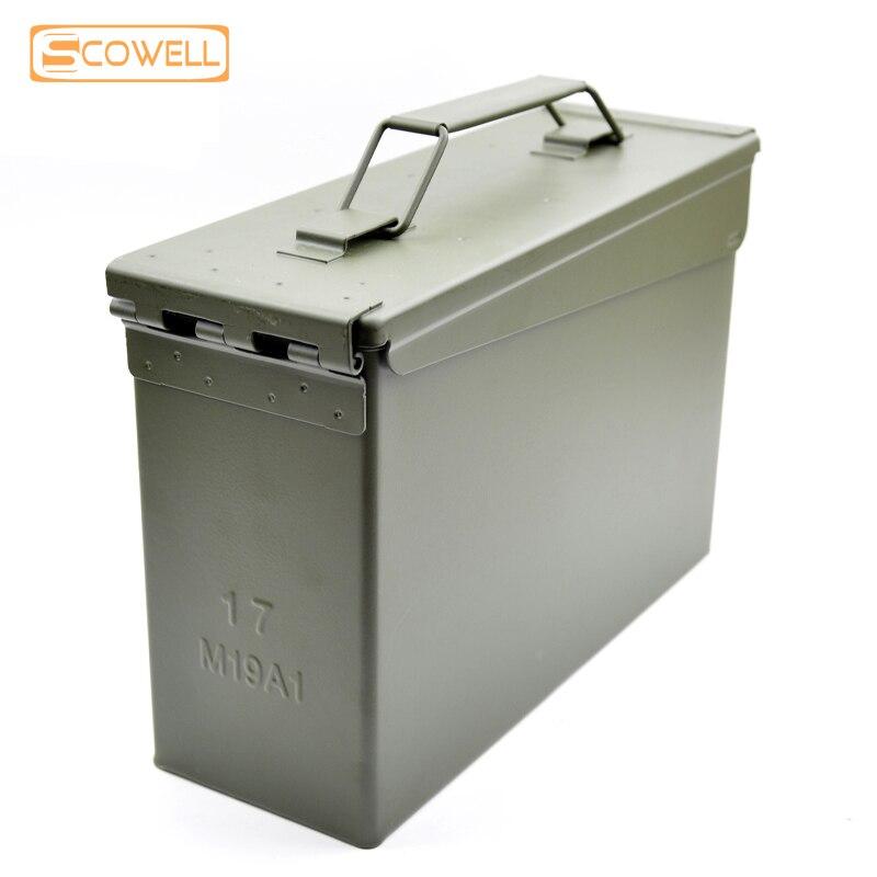 Caja de municiones táctica 30% de descuento caja de balas estuche de munición 30 Cal Metal militar y ejército M19A1 caja totalmente metálica para almacenamiento a largo plazo por Solid