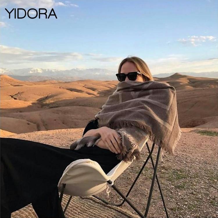 ElfStyle más cálido suave lana y cachemir de gran tamaño Impresión de letras geométricas chal/bufanda con recorte de borlas-chal/bufanda volante de flecos