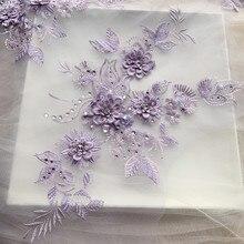 3D-Applique de robe de mariée   Matériel de couture, dentelle de perçage à chaud, Patch multicolore en option, RS2491