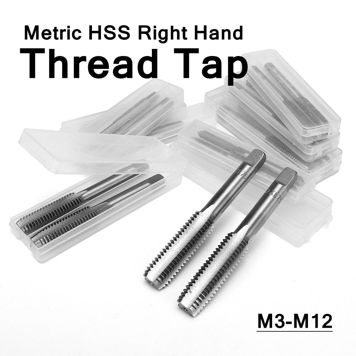 Juego de 2 uds machuelos DORESUPP espiral pulgadas M3 M4 M5 M6 M7 M8 M9 M10 M12 Industrial métrico HSS taladro derecho brocas clavijas