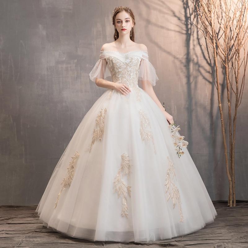 White Wedding Dresses For Women Off The Shoulder Lace Up Appliques Tulle Ball Gown Elegant Formal Bride Dresses Vestido Noiva