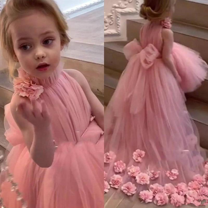 Real Image Lovely Flower Girl Dresses For Wedding High-Neck Tulle Floor Length Ball Gown Junior Brid
