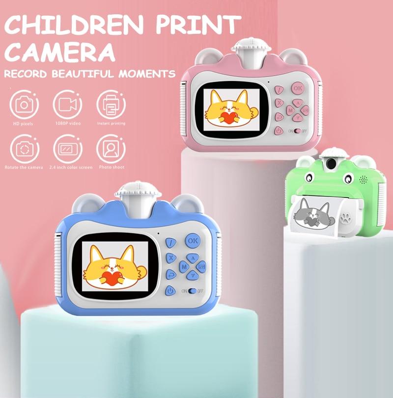 1080p niños impresión instantánea Cámara giratoria lente 1080P HD niños mini cámara juguetes niños regalos para instax mini 9 instax mini película